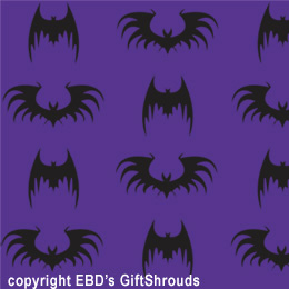 "24"" x 48"" (8 square feet on roll) One of our favorites: Classic - yet stylized Black Bats on a field of Purple. Bat Wrap"